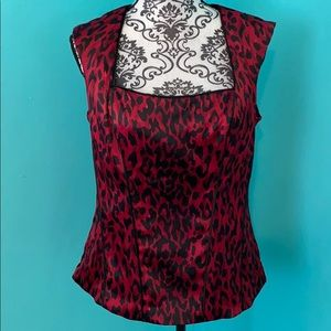 White House Black Market Animal Print Blouse Top